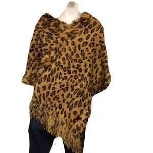 Leopard Poncho Sweater Brown Black Size: Medium